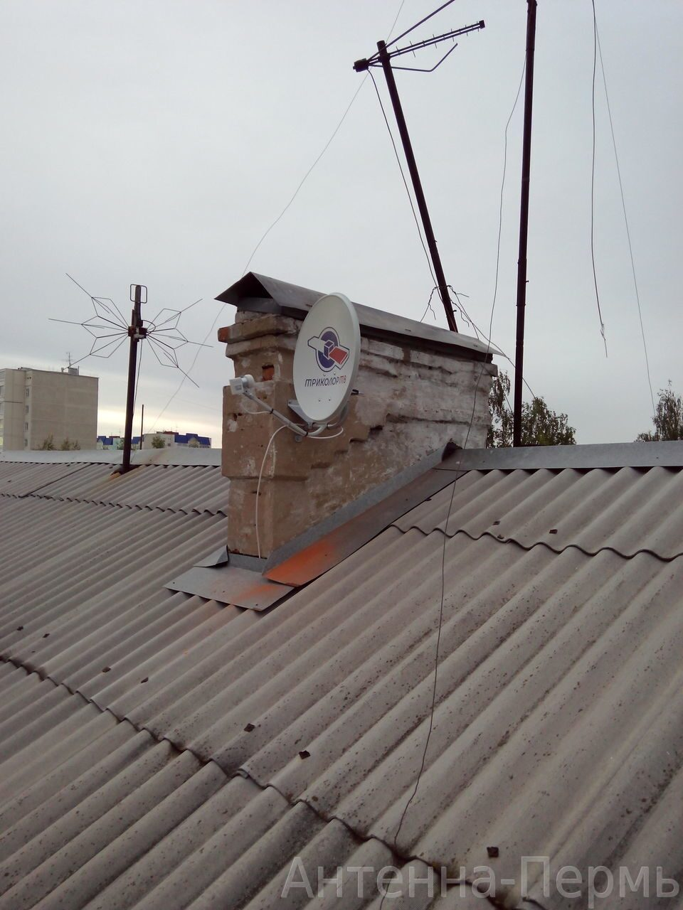 триколор-тв установить на крышу дома